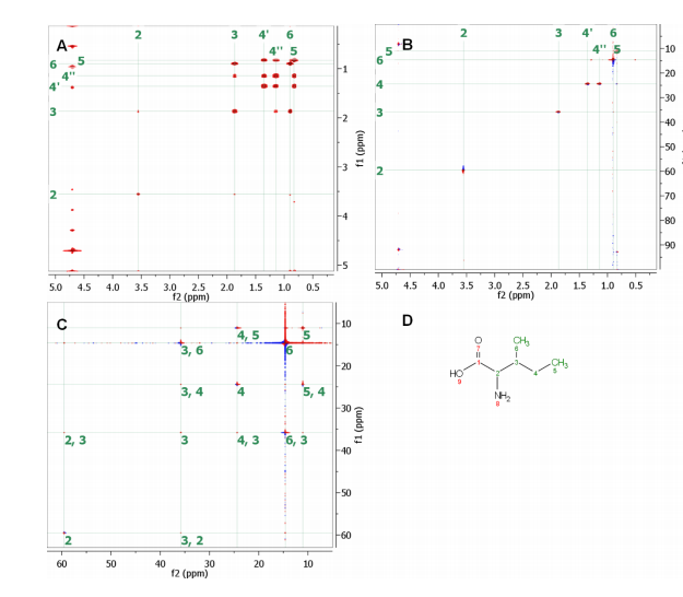 (A) COSY spectrum. (B) HSQC spectrum. Doubly indirect covariance experiment (C) allows  carbon-carbon connectivity of isoleucine to be derived (D). Assigned 13C- 13C cross-peaks in C show the  connections between vicinal carbons with protons attached of isoleucine carbons 2 to 6. (COSY and HSQC  spectra courtesy of R. Brüschweiler and F. Zhang)